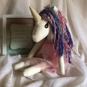 Unicorn Doll - Lovey - Stuffy - Handmade Doll